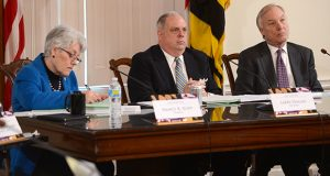 The Board of Public Works voted 2-1 to approve payment of legal fees to outside attorneys in the State Center development dispute. Treasurer Nancy Kopp, left, opposed the payment, but Gov. Larry Hogan and Comptroller Peter Franchot voted to approve the funding. (File Photo)