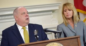 Hogan and Kelly M. Schulz, secretary of the Department of Labor, Licensing and Regulation. Schulz is tasked with running a study ordered by Hogan that is to examine the potential effects of paid sick leave on small businesses in the state.
