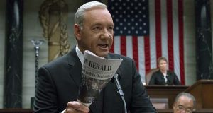 "This image released by Netflix shows Kevin Spacey in a scene from ""House Of Cards."" Netflix says it's suspending production on ""House of Cards"" following harassment allegations against Spacey.  (David Giesbrecht/Netflix via AP)"
