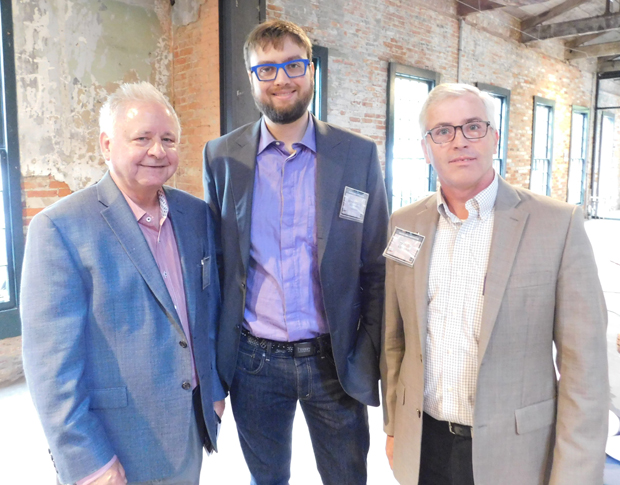 From left, Mike Galiazzo, president of the Regional Manufacturing Institute; Benjamin Gibbs, co-founder and CEO of READY Robotics Corporation; and Ed Mullin, CTO of SC&H Group, attended the manufacturing focused panel discussion. (Photo courtesy of SC&H Group)