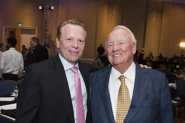 Craig Horner, left, the chief financial officer of Kelly & Associates and Frank Kelly, the CEO of Kelly & Associates and a former Maryland state senator, were on hand for Cristo Rey Jesuit High School's Celebration for the Future. (Photo by Larry Canner)