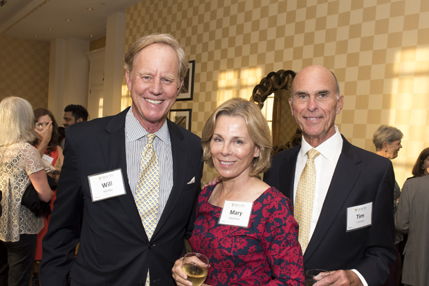 From left, Will Baker, president of the Chesapeake Bay Foundation; Mary Mullan, a community volunteer; and Thomas Mullan III, president of the Thomas F. & Clementine L. Mullan Foundation, were all smiles at Cristo Rey Jesuit High School's Celebration for the Future. (Photo by Larry Canner)