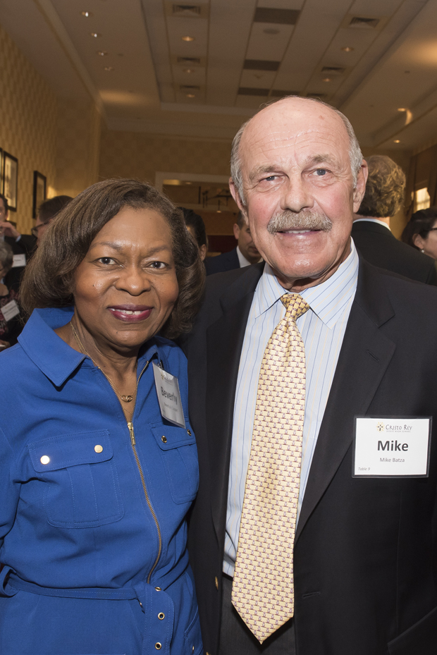 Beverly A. Cooper, left, vice president of the Reginald F. Lewis Foundation and a Cristo Rey trustee; and Mike Batza, CEO of Heritage Properties, were on hand for Cristo Rey Jesuit High School's Celebration for the Future. (Photo by Larry Canner)