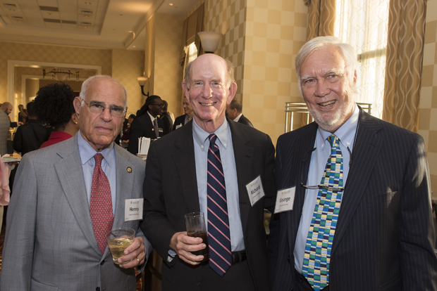 From left, Henry Rosenberg Jr., co-chairan of Rosemore Inc., Richard Himelfarb, senior vice president at Stifel Nicolaus & Company; and George Bunting, president and CEO of Blue Jar Private Trust, attended Cristo Rey Jesuit High School's Celebration for the Future. (Photo by Larry Canner)