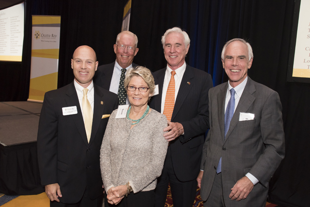 From left, Dr. Bill Heiser, president of Cristo Rey Jesuit High School; W. Boulton Dixon, former head of McDonogh School and Cristo Rey trustee; Susie Luetkemeyer, a community volunteer, Jack Luetkemeyer Jr., co-chairman of Continental Realty and a Cristo Rey trustee; and Frank Turner, executive vice president of Howard Bank and Cristo Rey board chair, pose for a photo at Cristo Rey Jesuit High School's Celebration for the Future. (Photo by Larry Canner)