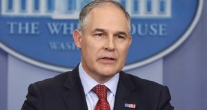 """FILE - In this June 2, 2017 file photo, EPA Administrator Scott Pruitt speaks in the Brady Press Briefing Room of the White House in Washington. Speaking in Kentucky on Monday, Pruitt said he will sign a proposed rule on Tuesday """"to withdraw the so-called clean power plan of the past administration.""""  (AP Photo/Pablo Martinez Monsivais, File)"""