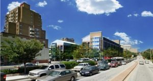 A schematic of 101 York looking north in Towson. The Greater Towson Council of Community Organizations, which represents 30 neighborhood groups in Baltimore County, wanted to challenge a zoning decision related to the mixed-used development, but the Court of Special Appeals last week held such umbrella groups generally lack standing. (Courtesy DMS Development LLC)