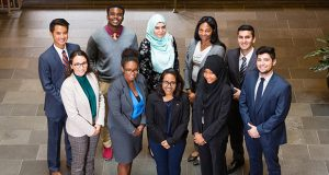 The inaugural participants in the University of Maryland Francis King Carey School of Law's Diversity and Inclusion Scholars Initiative. Back row, from left: Andrew Do, Chukwukpee Nzegwu, Fatemeh Shahkolahi, Taylor Nichols and Dominic Gilani. Front row, from left: Alba Sanchez Fabelo, Cymone Gosnell, Sudipta Das, Thaakirah Cason, Juan Parcero. Not pictured: Savannah Stack. (Courtesy UM Carey Law)