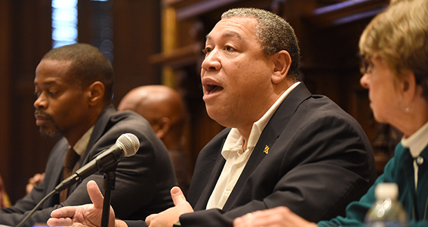 Baltimore City Councilman Bill Henry, shown at an earlier meeting, says the city needs to do a better job of providing comprehensive and easily accessible information showing which tax breaks have been granted to whom. (The Daily Record / Maximilian Franz)