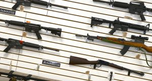 Guns on display at  FreeState Gun Range in Middle River in 2013.  (Maximilian Franz/The Daily Record)