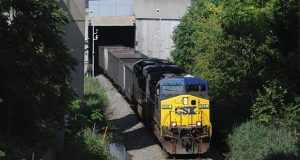 9-14-09 Photo of a CSX Train coming out of the south end of the Howard Street Tunnel near the stadiums. (File Photo/Maximilian Franz)