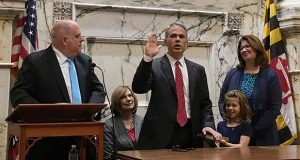 New Court of Special Appeals Judge Matthew Fader gets sworn in Monday by Gov. Larry Hogan at the State House. (Maximilian Franz/The Daily Record)