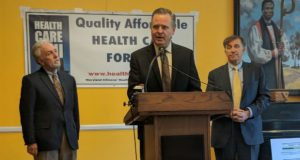 OpinionWorks President Steve Raabe (center) presents polling on initiatives to bring down the cost of prescription drug prices in Maryland. AARP state director Henry Greenberg (left) and Maryland Citizens' Health Initiative president Vincent DeMarco (right).