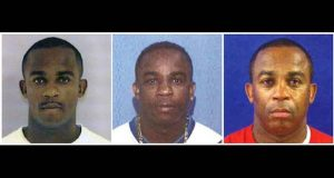 This combo of photos from June 24, 1997, left, July 7, 2004, center, and July 31, 2013, provided by the U.S. Department of State shows a man whom officials refer to as John Doe. The Diplomatic Security Service is trying to identify Doe, a foreign national who has been living for at least 20 years as an American citizen whose identity he stole. Officials in the U.S. Attorney's Office say the man was convicted Friday, Nov. 17, 2017, in federal court in Baltimore on charges of passport fraud, Social Security fraud, aggravated identity theft, and voter fraud. (U.S. Department of State via AP)