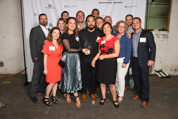 R. House, an industrial-chic food hall in a former body shop with roll-up garage doors and 10 chef-driven counters, took home the People's Choice Award during the ninth annual Urban Land Institute WaveMaker Awards. Pictured are Ronnie Younts, of Younts Design; Alison Grissinger, of Younts Design; Caroline Hecker, of Rosenberg Martin Greenberg; Nate Bachmann, of Younts Design; Pavlina Ilieva, of PI.KL Studio; Jon Constable, of Seawall Development Co.; Kuo Pao Lian, of PI.KL Studio; Peter DiPrinzio, of R. House; Zolna Russell, of Floura Teeter Landscape Architects; Justin Williams, of Rosenberg Martin Greenberg; Jason Dreher, of Structura; Joan Floura, of Floura Teeter Landscape Architects; Zach Baier, of Floura Teeter Landscape Architects; and Mark Erdman, of Structura. (Photo by Maximilian Franz)