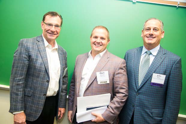 From left, Ron Causey, the CEO of SC&H Group; Mack McGee , vice president and chief marketing officer of SC&H Group and a featured speaker at the event; and John Hoey, president and CEO of The Y of Central Maryland and a Business Volunteers Maryland board member, were on hand for the inaugural Business Impact Summit. (Photo courtesy of Business Volunteers Maryland)