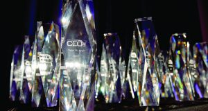 A close-up view of The Daily Record's Most Admired CEOs award. (Photo by Maximilian Franz)