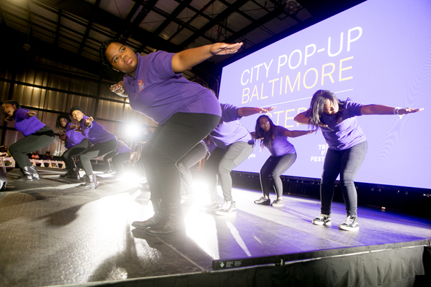 """The Lethal Ladies step team from the Baltimore Leadership School for Young Women give a special performance at the UA House at Fayette during a free public screening of the award-winning documentary, """"STEP."""" (Photo courtesy of Bloomberg Philanthropies and Tribeca Film Festival)"""