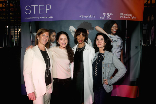 """From left, Patty Newburger, the executive vice prwsident for global business development with the Tribeca Film Festival; Amanda Lipitz, director of the documentary, """"STEP""""; Baltimore Mayor Catherine E. Pugh; and Katherine Oliver, a principal at Bloomberg Philanthropies; pose for a photo before the screening of the award-winning movie at the UA House at Fayette. (Photo courtesy of Bloomberg Philanthropies and Tribeca Film Festival)"""
