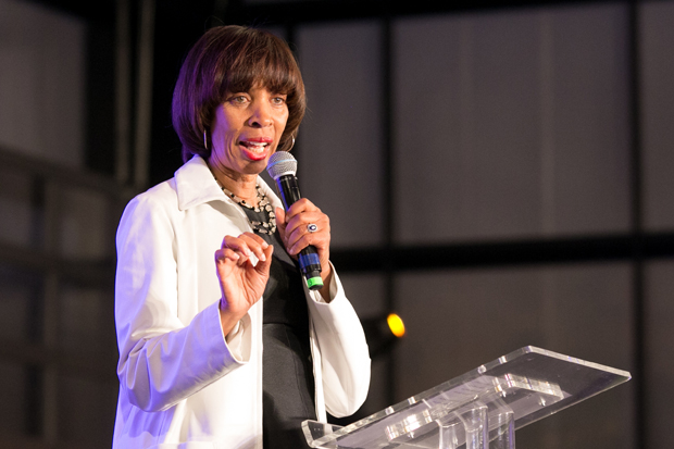 """Baltimore Mayor Catherine E. Pugh speaks to the crowd of nearly 500 people attending the free screening of the award-winning documentary, """"STEP"""" at the UA House at Fayette."""