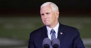 FILE - In this Nov. 8, 2017 file photo, Vice President Mike Pence speaks in Floresville, Texas. Pence will be keynoting two days of Republican Governors Association meetings beginning Wednesday, Nov. 15, in Austin, Texas. (AP Photo/David J. Phillip, File)