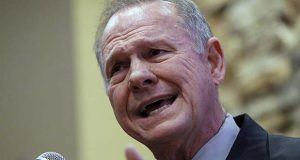 Former Alabama Chief Justice and U.S. Senate candidate Roy Moore speaks at the Vestavia Hills Public library, Saturday, Nov. 11, 2017, in Vestavia Hills, Ala. According to a Thursday, Nov. 9 Washington Post story an Alabama woman said Moore made inappropriate advances and had sexual contact with her when she was 14. Moore is denying the allegations. (AP Photo/Hal Yeager)