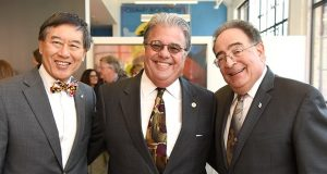 From left, University of Maryland, College Park President Wallace Loh; University of Maryland Chancellor Robert Caret; and University of Maryland, Baltimore President Jay Perman at Thursday's event. (Maximilian Franz)