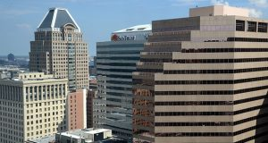 A new report finds that office buildings in Baltimore north of Lombard Street don't enjoy as much leasing success as properties on Pratt Street and the Inner Harbor. (Maximilian Franz)