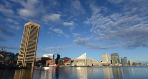 The Baltimore harbor on April 6. (The Daily Record / Maximilian Franz)