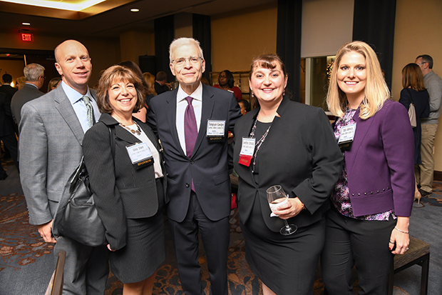 Jennifer Estrada, second from right, a senior manager at Gorfine, Schiller & Gardyn and a 2018 Leading Women winner, was joined by her colleagues, from left, Officer Scott Rogville, Manager Gina Snee, Managing Officer Simpson Gardyn and Senior Accountant Tara Almacy for the awards ceremony at The Westin Annapolis.