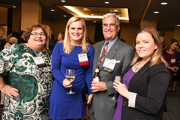 From left, Maria Darby, the director of development and external relations with Keswick Multi-Care Center; Emily Burfoot, a craft and import sales representative with Tenth and Blake Beer Company at MillerCoors and a 2018 Leading Women winner; Jeffrey Dubnow, the vice president of development and communications with Chimes International Ltd.; and Scotti Cutlip, a product manager/editor at Agora Integrated Marketing, attended The Daily Record's 2018 Leading Women awards ceremony at The Westin Annapolis.