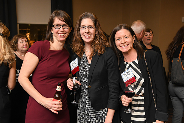 Fron left, Emily Levenson, an attorney with Brown, Goldstein & Levy; 2018 Leading Women winner Kim Fusco, a principal with Ellin & Tucker; and Erin Charles, a principal with SC&H Group, enjoy their time during The Daily Record's 2018 Leading Women awards ceremony at The Westin Annapolis.