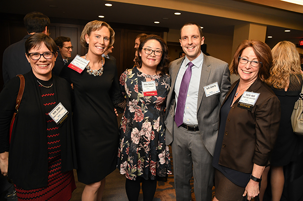 From left, Kate Smith, with Howard County General Hospital; 2018 Leading Women award winners Elizabeth Edsall Kromm, the vice president of population health and advancement with Howard County General Hospital; and Olivia Doherty, the director of communications with the Horizon Foundation; Seth Doherty; and Stacie Hunt, the president and CEO of Leadership Howard County, take time for a photo during The Daily Record's 2018 Leading Women awards ceremony at The Westin Annapolis.