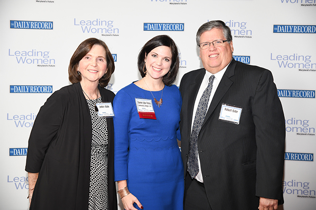 The Daily Record's 2018 Leading Women award winner Shannon Babe-Thomas, center, the executive director of Community Bridges Inc., celebrates her award with Janice Babe and Robert Babe at The Annapolis Westin.