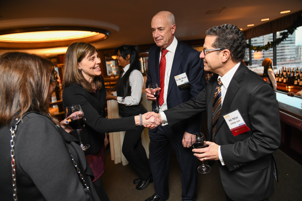 From left, Ellen Meltzer; Nancy Sloane, president of the Greater Baltimore Medical Center; Dr. John Chessare, CEO of GBMC; and Neil Meltzer, president of Life Bridge Health and a 2017 Daily Record Icon Honors winner, enjoy a conversation at the awards reception. GBMC was reception sponsor for the event. (Photo by Maximilian Franz)