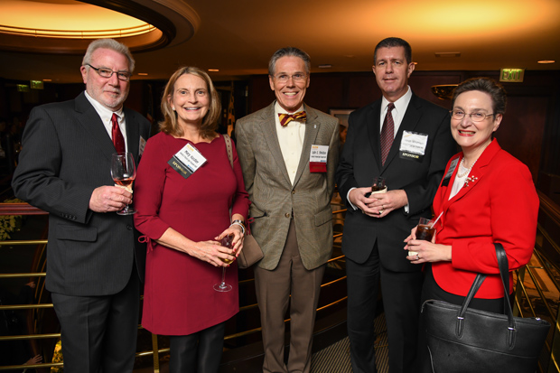 From left, Mark Hastler, the work lead at Spring Gardens for BGE; Mary Hastler, the CEO of the Harford County Public Library; Lyle E. Sheldon, president and CEO of University of Maryland Upper Chesapeake Health and a 2017 Daily Record Icon Honors winner; Steve Wiseman, a partner with Melnyk & Wiseman LLC; and Theresa Wiseman, president of MediaWise Inc., enjoy the evening at The Center Club for the Icon Honors awards reception. (Photo by Maximilian Franz)