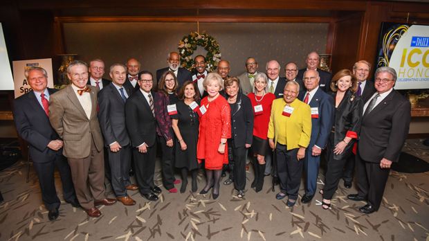 Winners of the 2017 Daily Record Icon Honors award gather for a group photo during the awards reception Dec. 19 at The Center Club. (Photo by Maximilian Franz)