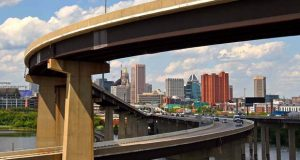A view of Baltimore city coming into town on I-395 on June 20.  (The Daily Record / Maximilian Franz)