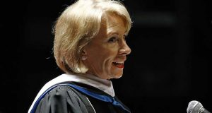 Education Secretary Betsy DeVos told graduates at the University of Baltimore's winter commencement Monday that she is championing the type of education that allows a student to pursue non-traditional options. DeVos' speech drew some protests, both before and during her remarks. (AP Photo/Patrick Semansky)