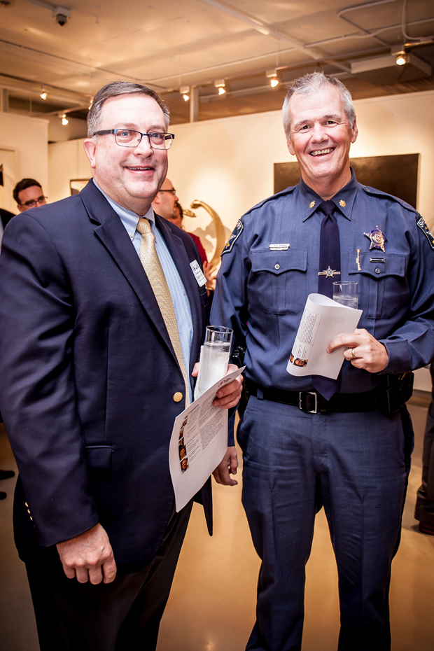 Harford County Sheriff's Office offcials Maj. William Davis, left, and Cpt. Jim Eyler attended the launch of the statewide ACE Interface Project. (Photo by Kat Ashdown)