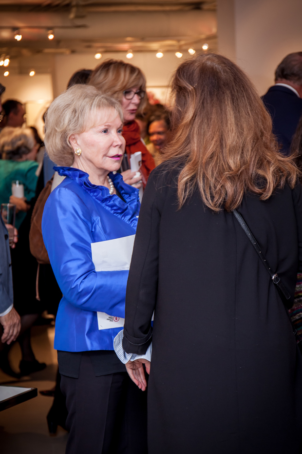 Nancy Grasmick, the co-director of the Kennedy Krieger Institute Center for Innovation and Leadership in Special Education, chats with other attendees at the launch of the statewide ACE Interface Project. (Photo by Kat Ashdown)