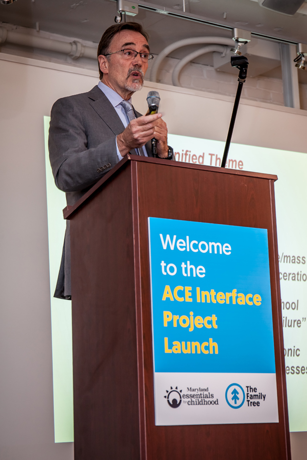 Dr. Robert Anda, co-founder of the ACE Interface, delivers an address to the crowd at the launch of the statewide ACE Interface Project. (Photo by Kat Ashdown)