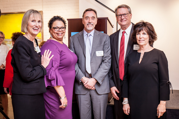 From left, Patricia Cronin, executive director of The Family Tree; Rebecca Jones-Gaston, executive director of the Social Security Administration; Dr. Robert Anda, co-founder of ACE Interface; Clay Stamp, executive director of the Opiod Command Center; and Claudia Remington, executive director of the State Council on Child Abuse and Neglect, were on hand for the launch of the statewide ACE Interface Project. (Photo by Kat Ashdown)