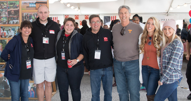 From left, The Baltimore Station's Development and Communications Kim Callari, Volunteer Services Manager Todd Troester, Development Associate Kiera DeNoyer Roman and Executive Director John Friedel enjoy the family atmosphere during the Stars, Stripes and Chow Chili Cook-Off with John Callari, Sammi Callari and Chloe Courter. (Photo courtesy of The Baltimore Station)