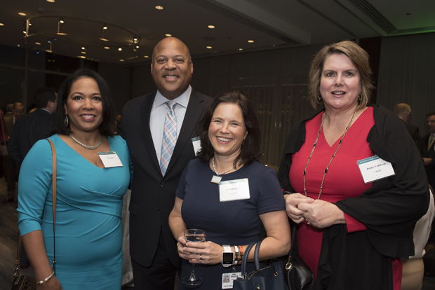 From left, Joan Ray; James Ray, the president of global industrial for Stanley Engineered Fastening; Beth Garner, director of corporate relations for GBMC HealthCare; and Jenny Coldiron, vice president of development for GBMC HealthCare, attended Loyola University Maryland's Sellinger School of Business and Management's Businessman of the Year celebration. (Photo by Larry Canner)