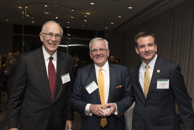 From left, Bill Couper, retired mid-Atlantic president for Bank of America; Ed Brake, CEO and managing director of Ellin & Tucker; and Steve Woerner, president and chief operating officer of BGE, take time for a photo during Loyola University Maryland's Sellinger School of Business and Management's Businessman of the Year celebration. (Photo by Larry Canner)
