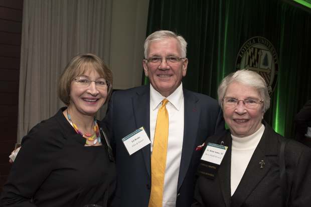 From left, Kathleen Getz, dean of Loyola University Maryland's Sellinger School of Business and Management; Ed Brake, CEO and managing director of Ellin & Tucker; and Sister Helen Amos, executive chair of the board of trustees of Mercy Health Services, were on hand for Loyola University Maryland's Sellinger School of Business and Management's Businessman of the Year celebration. (Photo by Larry Canner)