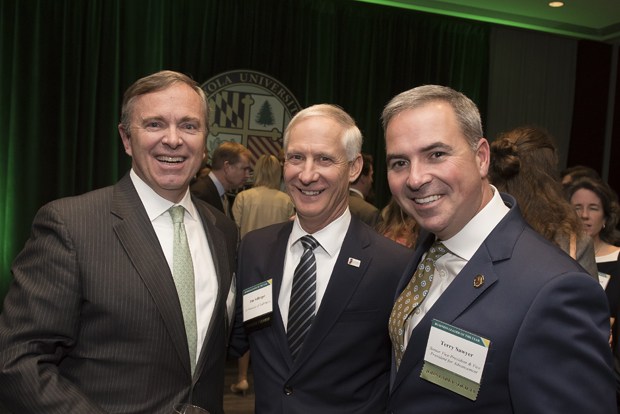 From left, Bill Baird, chief financial officer and executive director for the Archdiocese of Baltimore; Jim Sellinger, chancellor of education for the Archdiocese of Baltimore; and Terrence Sawyer, senior vice president of advancement at Loyola University Maryland, were on hand for Loyola University Maryland's Sellinger School of Business and Management's Businessman of the Year celebration. (Photo by Larry Canner)