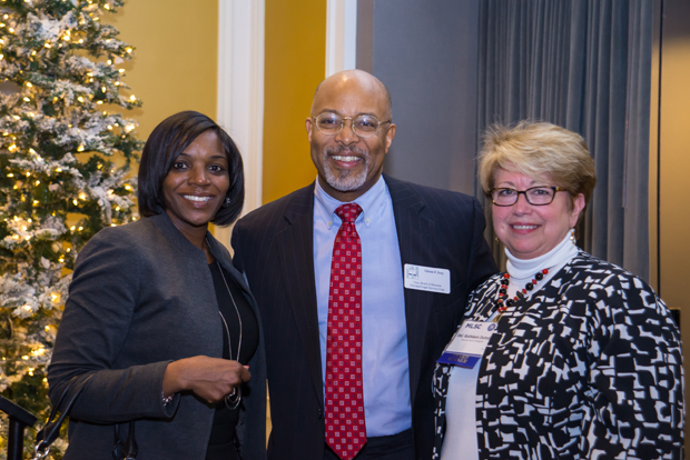 Camille Parker, left, a partner with Gallagher Evelius & Jones LLP, joins Maryland Legal Services Corporation chair Glenn Ivey in congratulating Del. Kathleen M. Dumais, D-Montgomery County and an attorney with Ethridge, Quinn, Kemp, McAuliffe, Rowan & Hartinger, on winning the Arthur W. Machen Jr. Award at the MLSC's annual awards reception. (Photo by Guill Photo Inc.)
