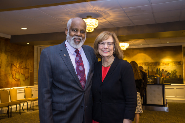 Maryland Legal Aid Executive Director Wilhelm H. Joseph Jr., left, and Maryland Court of Appeals Chief Judge Mary Ellen Barbera take time for a photo at the Lord Baltimore hotel during the Maryland Legal Services Corporation's annual awards reception. (Photo by Guill Photo Inc.)